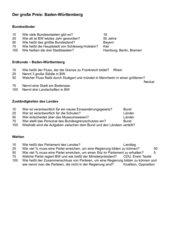 Quizspiel zur Wiederholung Baden-Württemberg