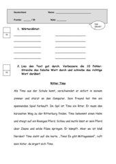 Sprachtest Deutsch Klasse 3, eher 4