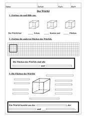 Merkmale des Würfels (Kanten, Ecken, Flächen) 3.Klasse