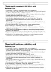 Klassenarbeit zum Thema BRÜCHE, 6. Klasse