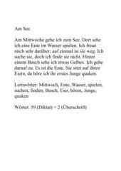 Am See - Diktat für 1./2. Klasse