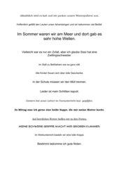 Sätze mit Doppelkonsonanten (Dosendiktat)