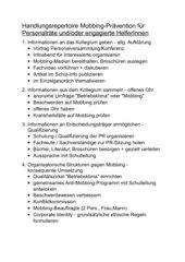 Handlungsrepertoire Mobbing-Prävention für Personalräte und/oder engagierte HelferInnen