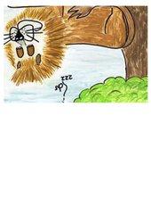 selbstgemalte Bilder zu der Fabel Löwe und Maus 1