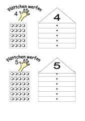 Plättchen werfen - Zahlzerlegung 4,5,6,7,8,9