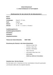 U- Entwurf für die 8. Klasse, Thema 'from all parts of the world'