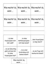 Hausaufgaben - Fragekarten und Arbeitsblatt
