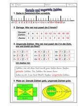 Mathematik gerade/ungerade Zahlen Übung