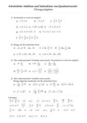 Addition und Subtraktion von Quadratwurzeln