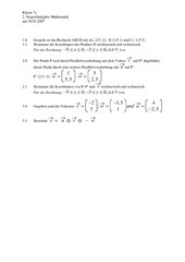 Stegreifaufgabe Vektorrechnung / Parallelverschiebung