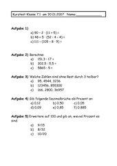 Kurztest Mathe Klasse 7