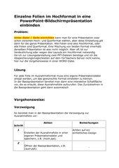 Einzelne Folien im Hochformat in eine PowerPoint-Bildschirmpräsentation einbinden
