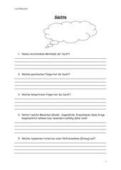 Fragebogen für Internetrecherche Süchte