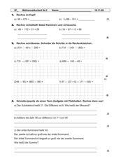 Mathematikarbeit Nr.2 Klasse 5