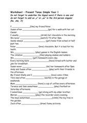 Worksheet Present Tense Simple