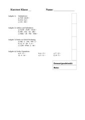 Kurztest/Hausaufgabenüberprüfung Klasse 7 Mathematik