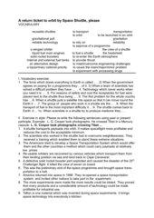 Worksheet on Space Shuttle