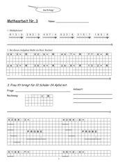 Klassenarbeit Division mit Rest, schriftliche Division & Multiplikation