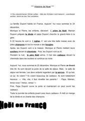 Histoire de Noël + Arbeitsblatt + Lösungen