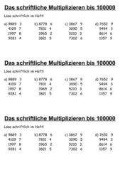 schriftliche Multiplikation THZE mal E