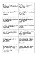 Grammar quiz for DaF - Level A1