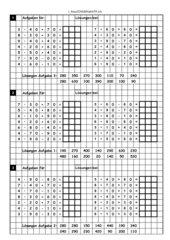 übungsblatt zur Multiplikation von Einern mit Zehenerzahlen +/- Zehenerzahlen im Zahlenraum bis 100