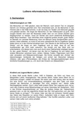 Stundenentwurf Luthers reformatorische Erkenntnis