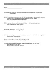 Mündliche Prüfung Quali Hauptschule Mathematik