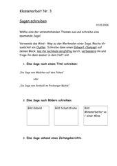 Klassenarbeit: Kreatives Schreiben zu Sagen