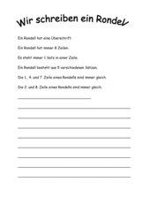 Lyrik in der Grundschule - ein Rondell schreiben
