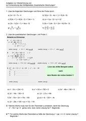 Übung zu linearen und quadratischen Gleichungen
