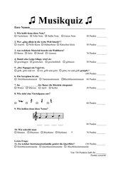 Musikquiz Instrumentenkunde - Notenwerte - Notennamen