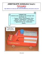 Arbeitskarte Modellbau kreativ: Fahrzeugbau