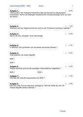 Geschichtstest   BRD-DDR + Lösung