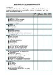 Schülerfragebogen zum Lehrerverhalten