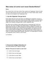 Lernstandserhebung zum Thema Fabeln