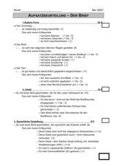 Aufsatzbeurteilung - Der Brief