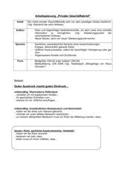 Arbeitsplan/Übersicht: Privater Geschäftsbrief