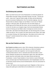 Text über Karl von Drais (Erfinder des Laufrades)