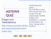 Wissenstest zu den jeweiligen Asterix-Hefttitelthemen