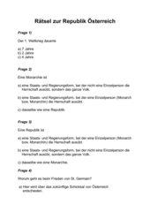 Rätsel zur Republik Österreich