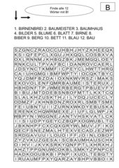Buchstaben-Suchrätsel zu den Buchstaben B, G, K, S