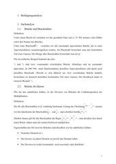 Einführung Brüche dividieren; Klasse 7; ausführlicher Unterrichtsentwurf