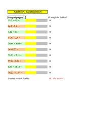 Kopfrechnen mit Dezimalzahlen 1