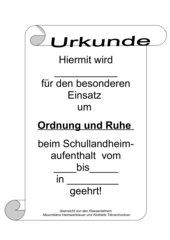 Urkunde für Schullandheim