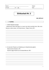 Ethik Klassenarbeit: Themen Konflikte und Konsum