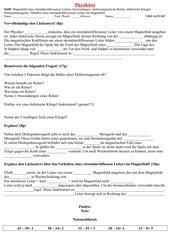 Physiktest über Magnetfeld eines stromdurchflossenen Leiters, Anwendungen...