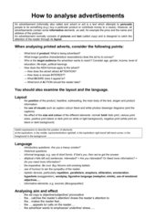 Handout - How to analyse advertisements