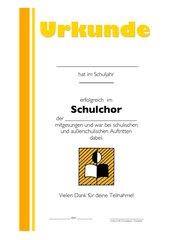 Urkunde Schulchor
