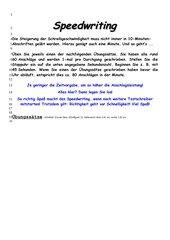 Speedwriting (Zeilentraining)